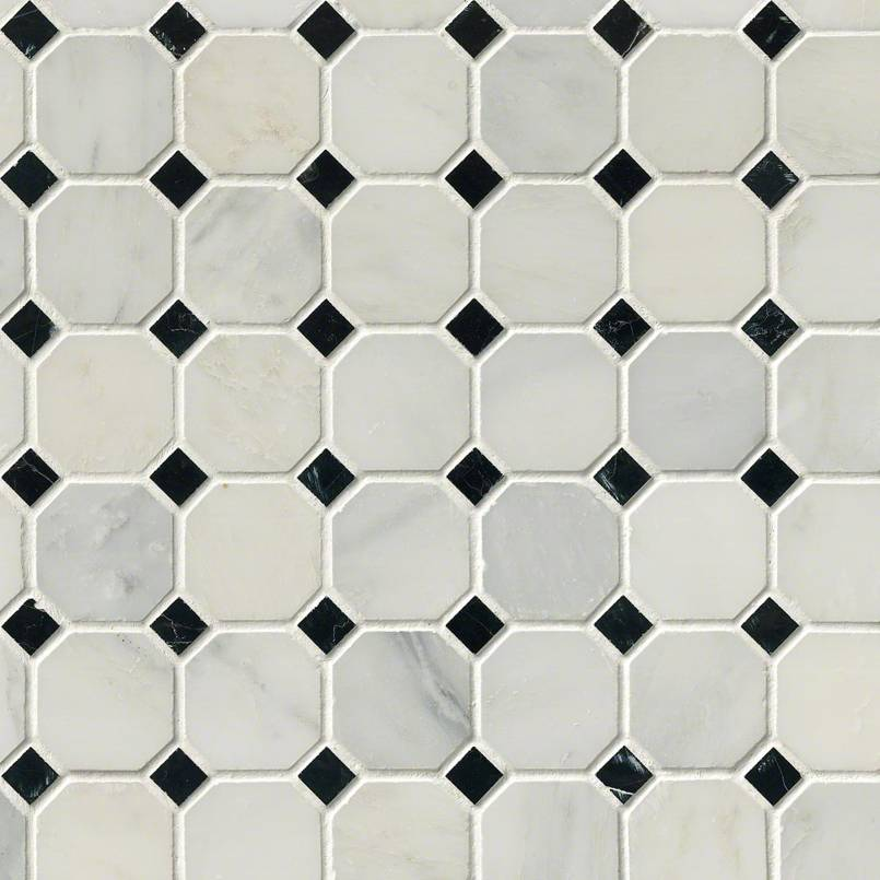 Arabescato Cararra 2inch Octagon With Black And White 58×58 Honed In 12×12 Mesh