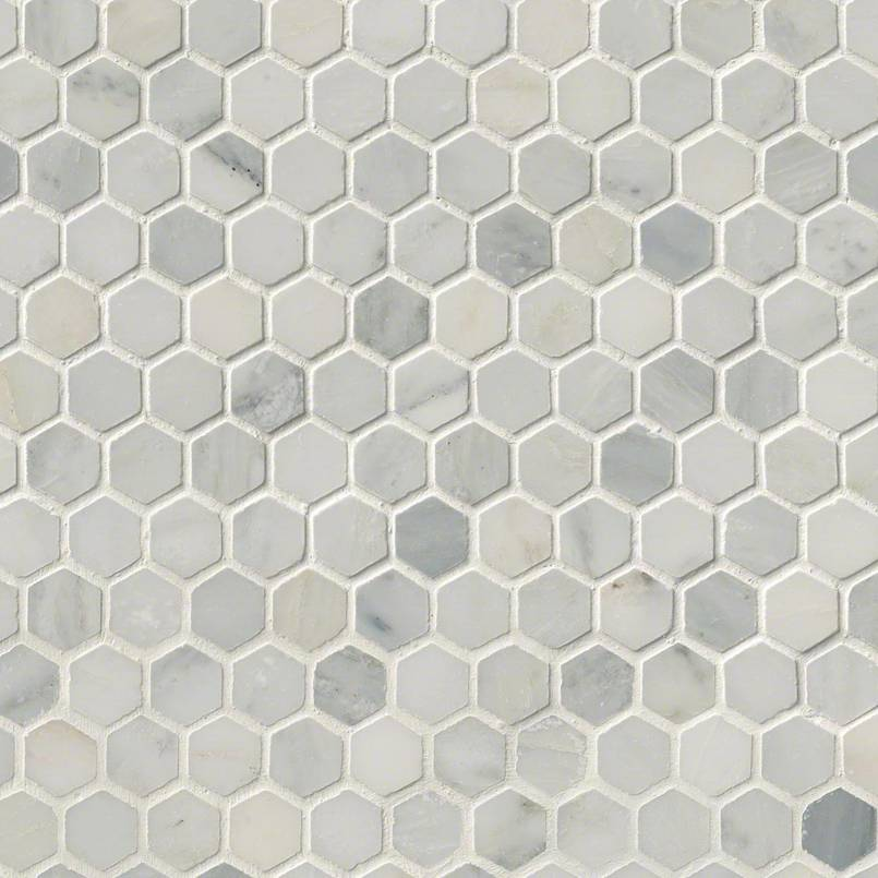 Arabescato Carrara 1inch Hexagon Honed In 12×12 Mesh