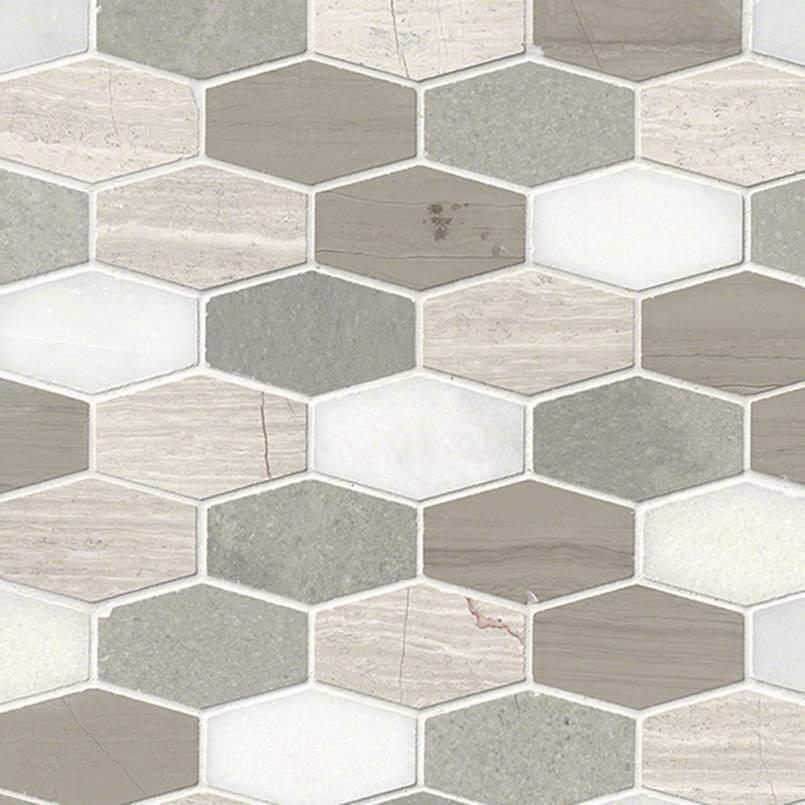Bellagio Blend Elongated Hexagon Honed