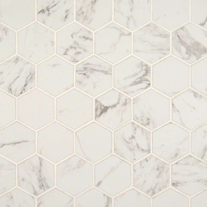Carrara Matte 2×2 Hexagon Mosaic