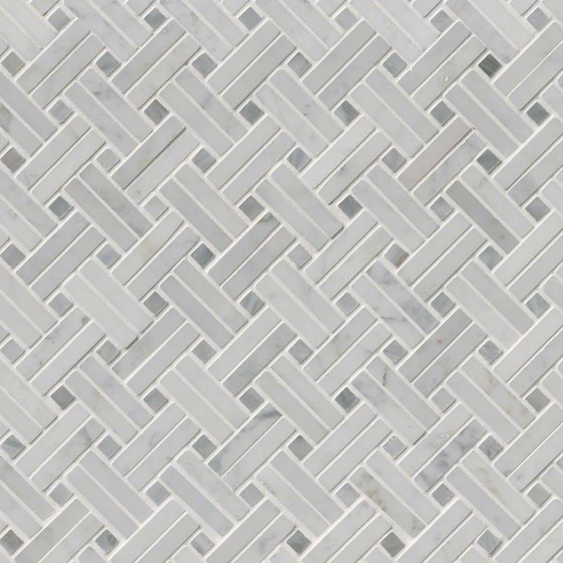 Carrara White Basketweave Pattern Polished