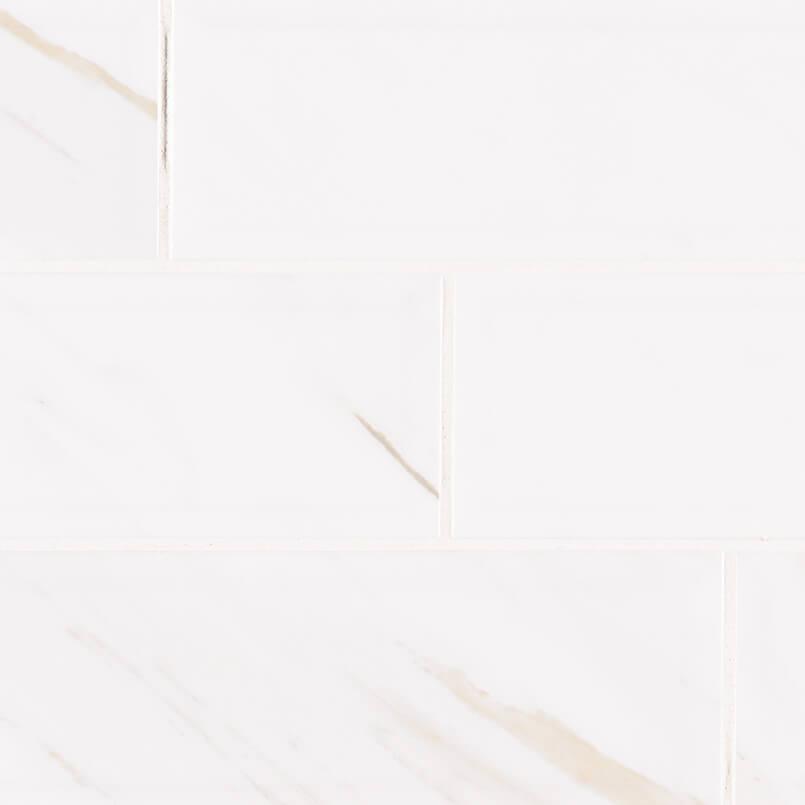 Classique White Calacatta Glossy 4×16 Beveled