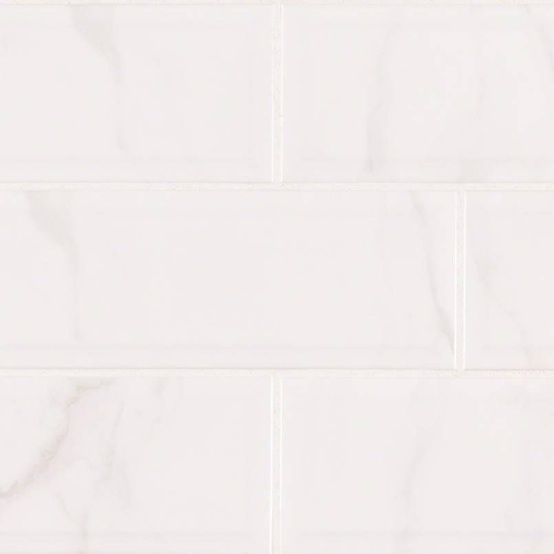 Classique White Carrara Glossy 4×16 Beveled