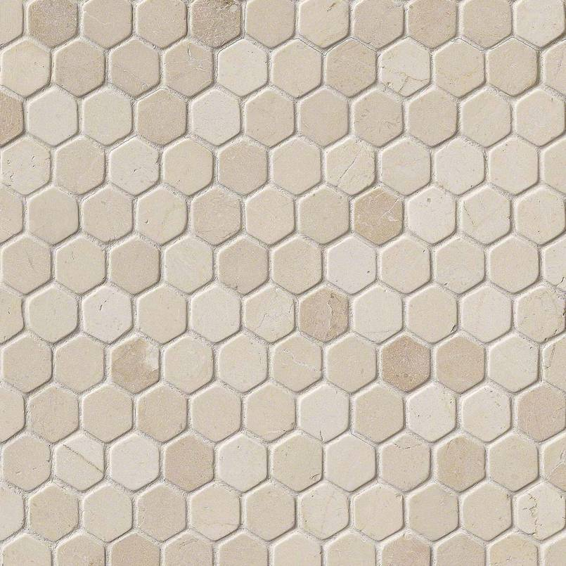 Crema Marfil 1″ Hexagon Tumbled In 12×12 Mesh