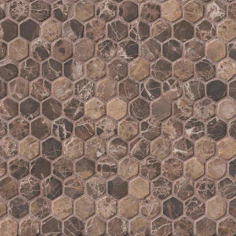 Emperador Dark 1inch Hexagon Tumbled In 12×12 Mesh