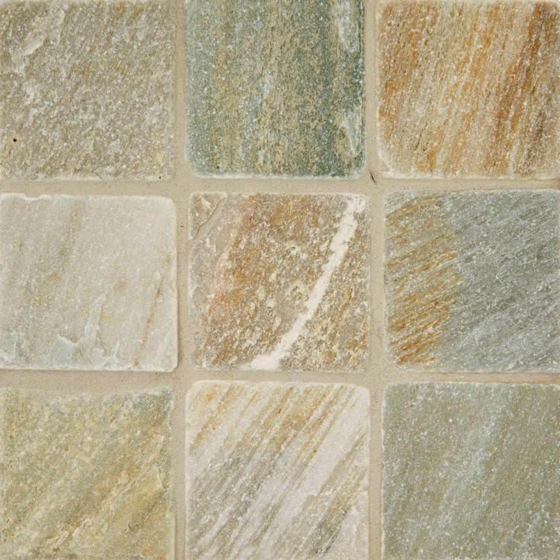 Golden White Quartzite 4×4 Tumbled And Gauged Tile