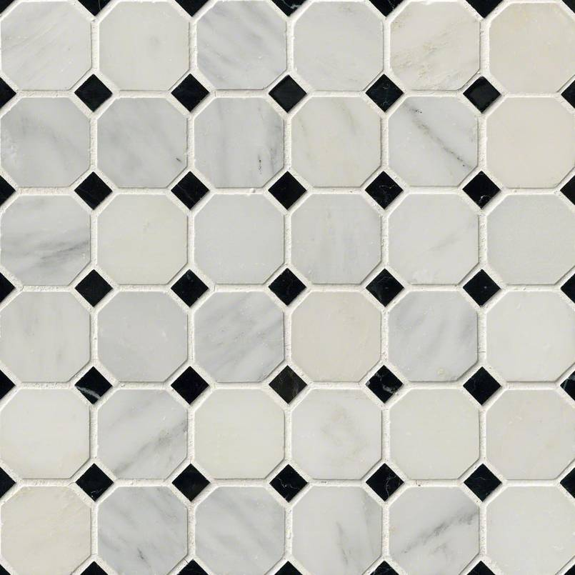 Greecian White 2″ Octagon With Black 5/8×5/8 Polished In 12×12 Mesh