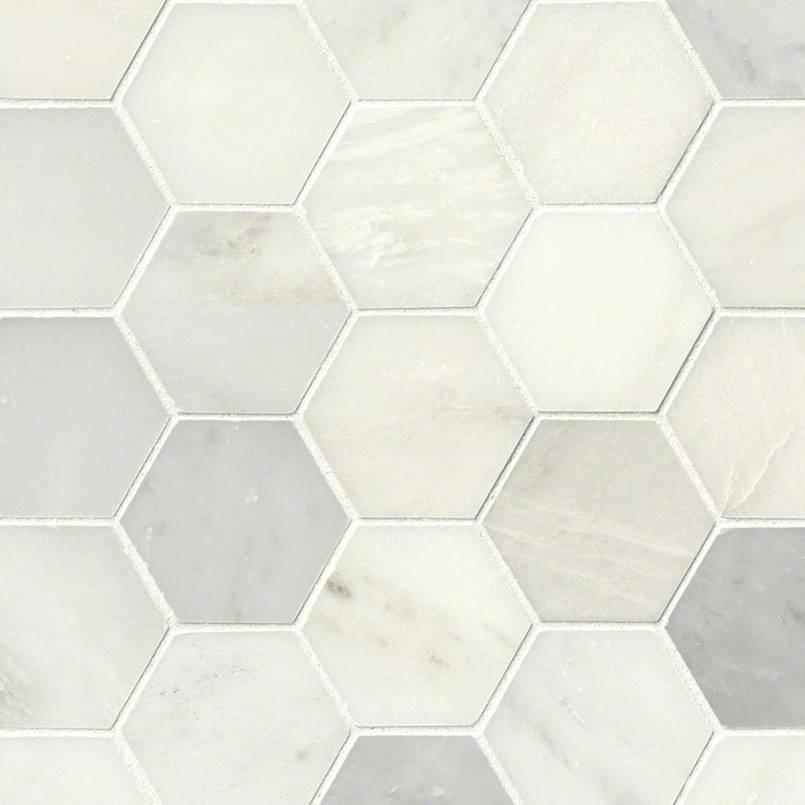 Greecian White 3inch Hexagon Polished