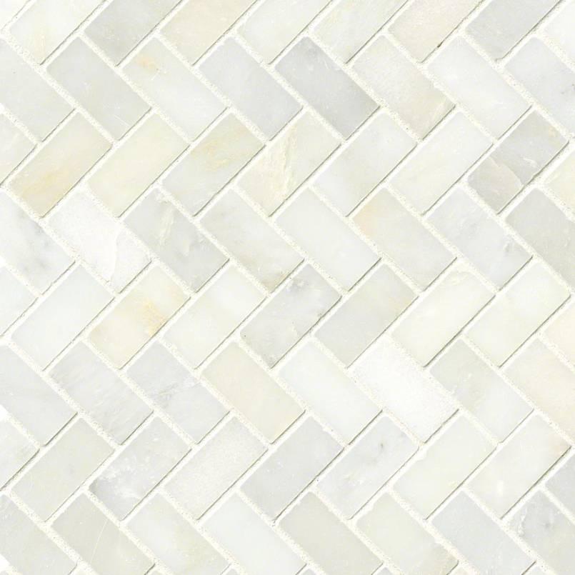 Greecian White Herringbone Pattern