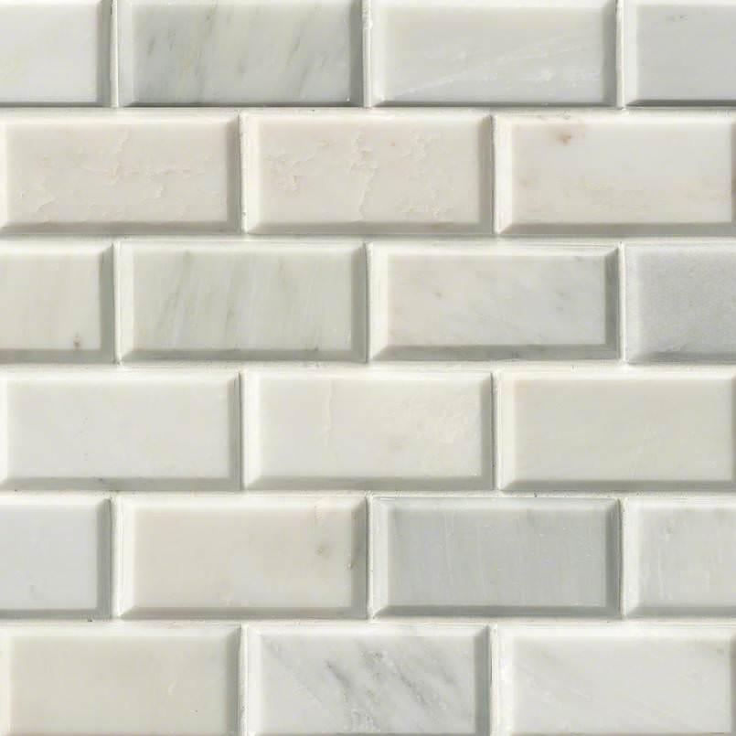 Greecian White Subway Tile Beveled 2×4