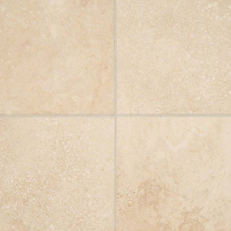 Ivory Travertine 6×6 Honed And Beveled Tile