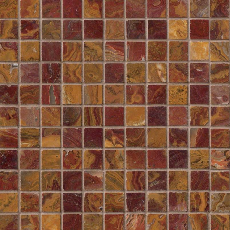 Red Onyx 1×1 Polished In A 12×12 Mesh