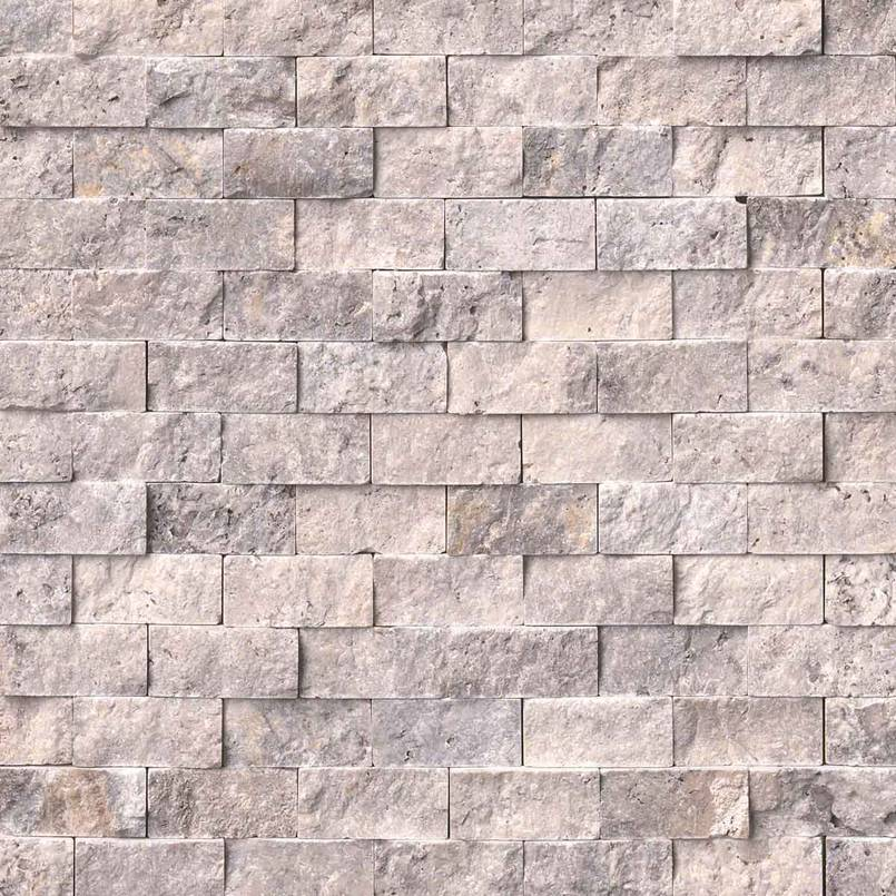 Silver Travertine 1×2 Split Face