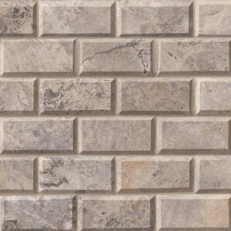 Silver Travertine Subway Tile 2×4