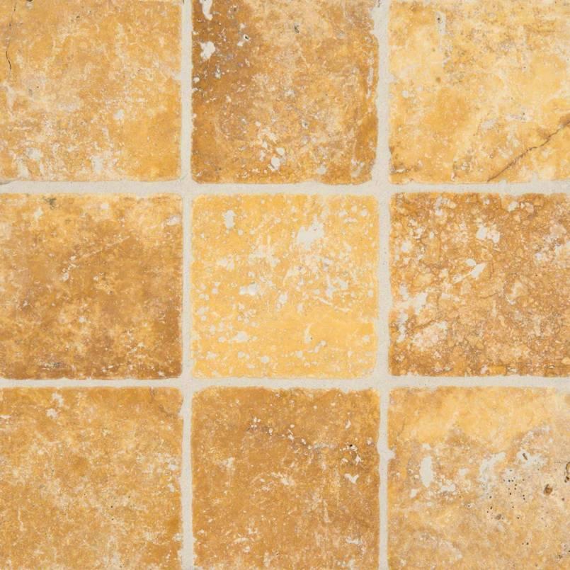 Tuscany Gold 4×4 Tumbled Tile