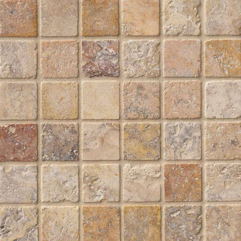 Tuscany Scabas 2×2 Tumbled In 12×12 Mesh
