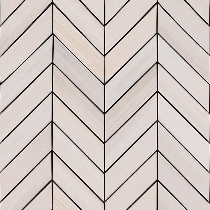 Watercolor Bianco Chevron Mosaic 12×15