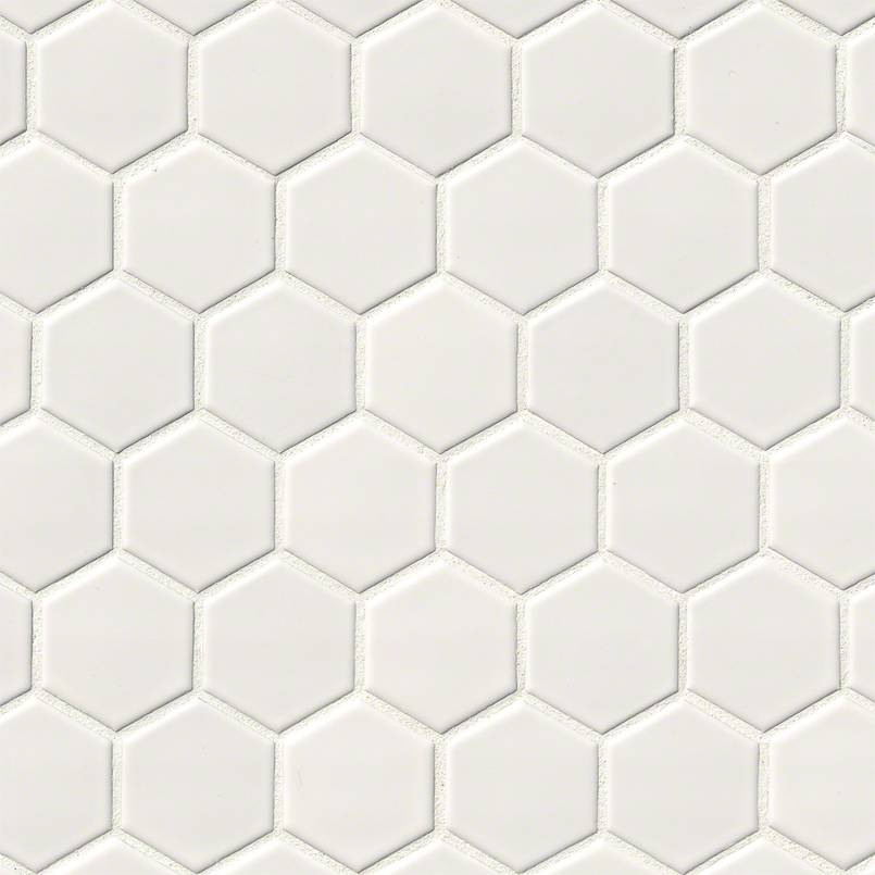 White Glossy 2x2 Hexagon Mosaic