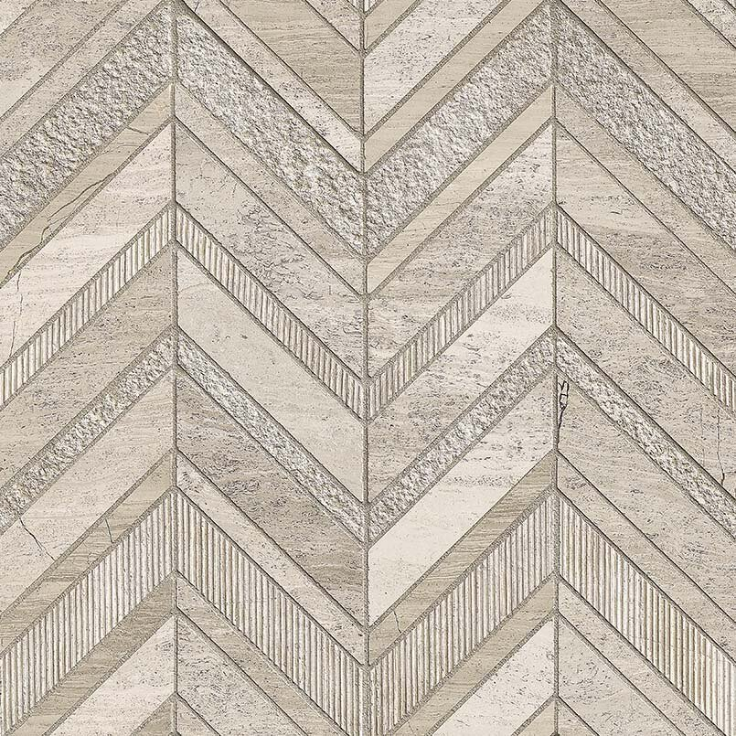 White Quarry Chevron Pattern