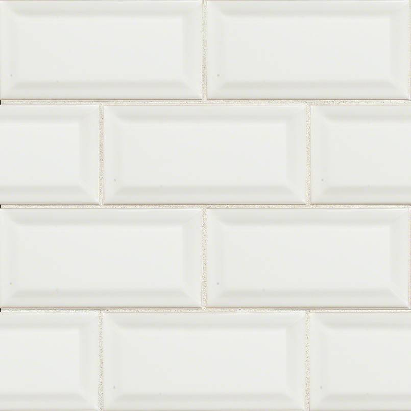 White Subway Tile Beveled 3×6