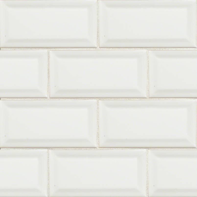 White Subway Tile Beveled 3×6