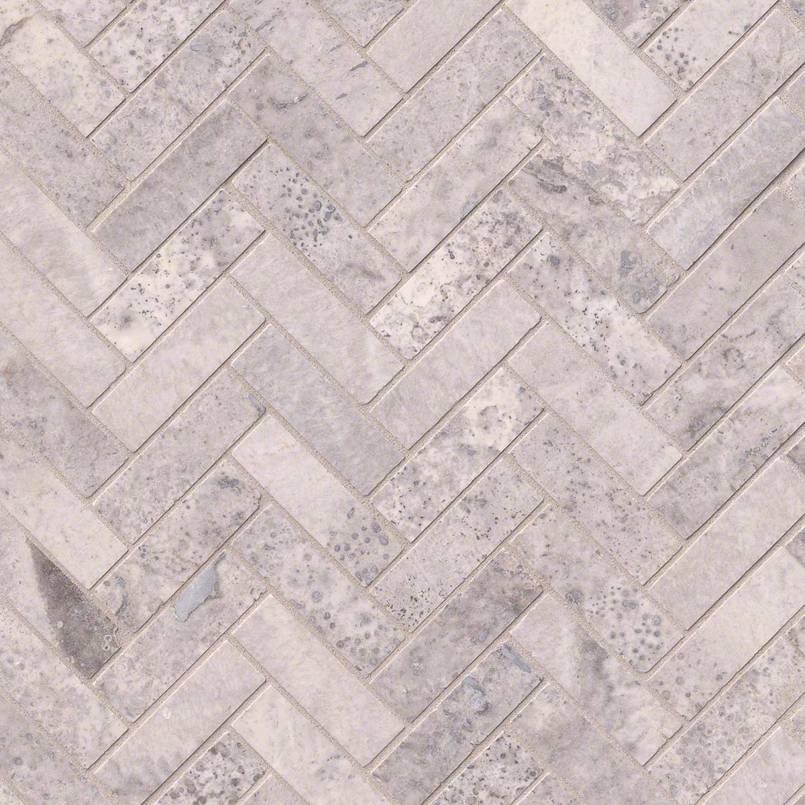 Silver Travertine Herringbone Pattern Honed