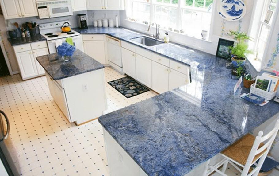 Blue Bahia Granite with White Cabinets Blue Bahia Granite Slab
