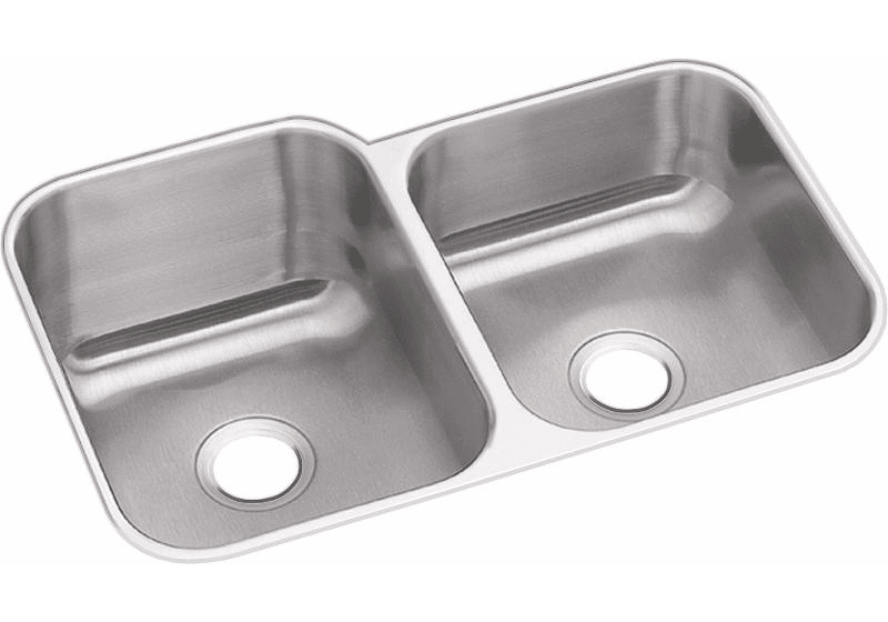 Dayton Stainless Steel 31-3/4″ X 20-1/2″ X 10″ Offset Double Bowl Undermount Sink