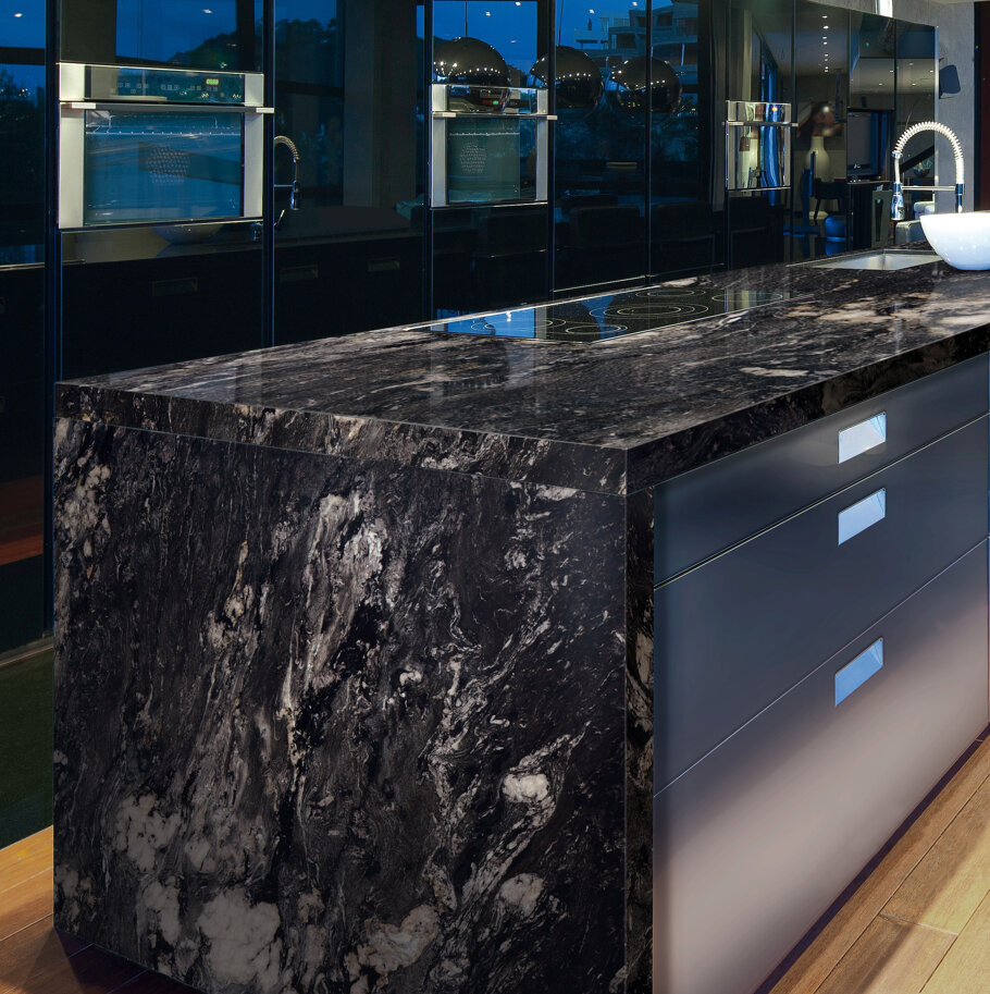 Cosmic Black Granite Modern Kitchen
