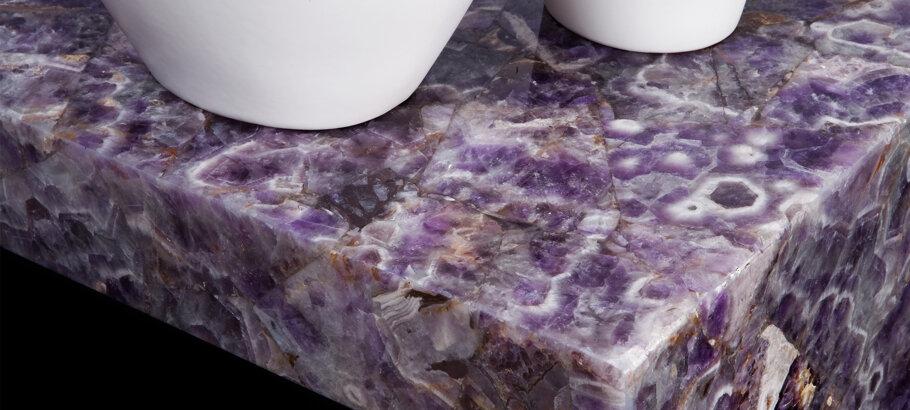 Caesarstone Viola Quartz Gemstone Semi Precious Kitchen Countertops