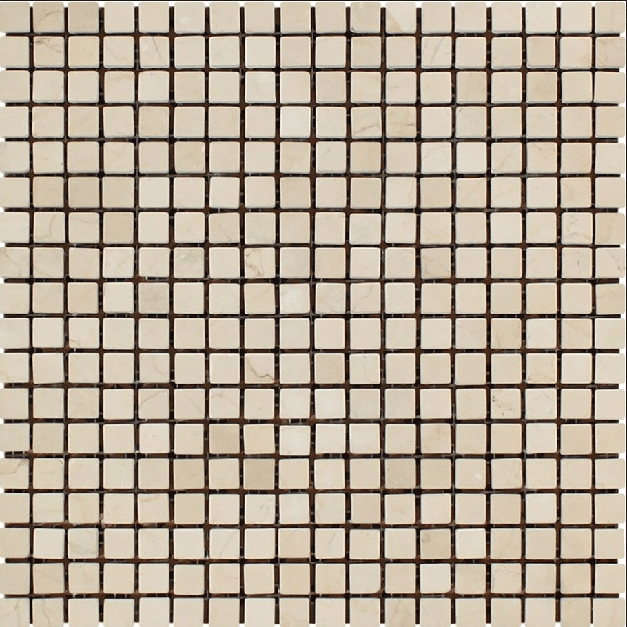 Crema Marfil 5/8 x 5/8 Polished In 12x12 Mesh