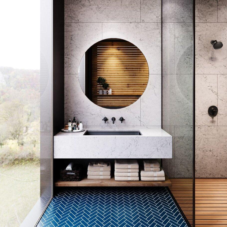 Bridport Cambria Quartz Bathroom with Undermount Sink and Mirror