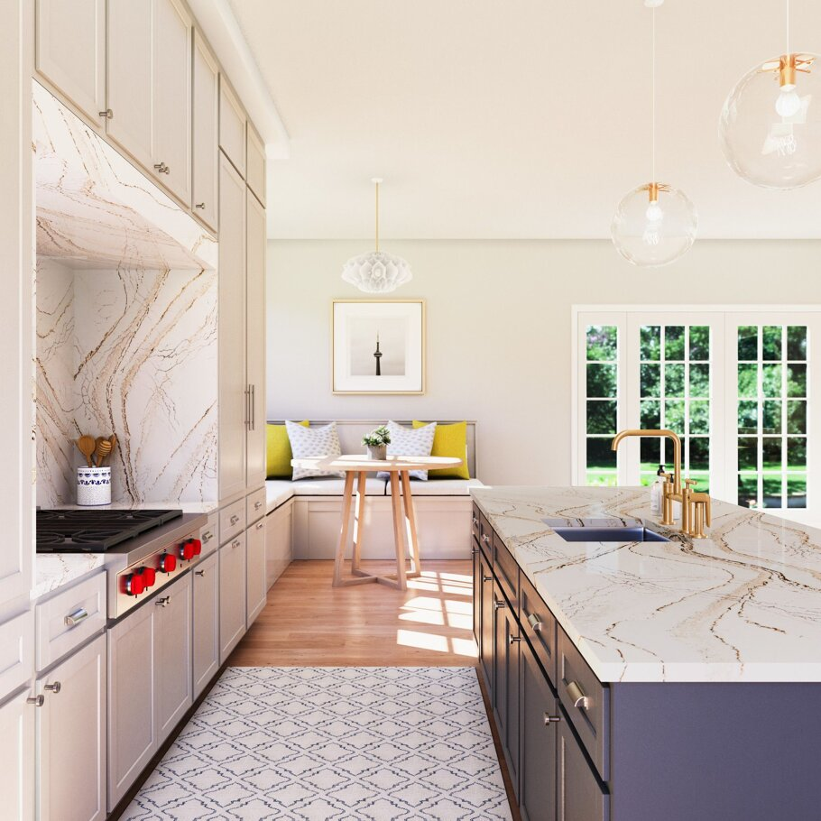 Clovelly Cambria Quartz Kitchen Countertops with White and Grey Wood Cabinets and Wood Floors