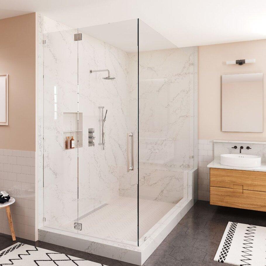 Colton Cambria Quartz Bathroom Shower Walls with Tile Floors