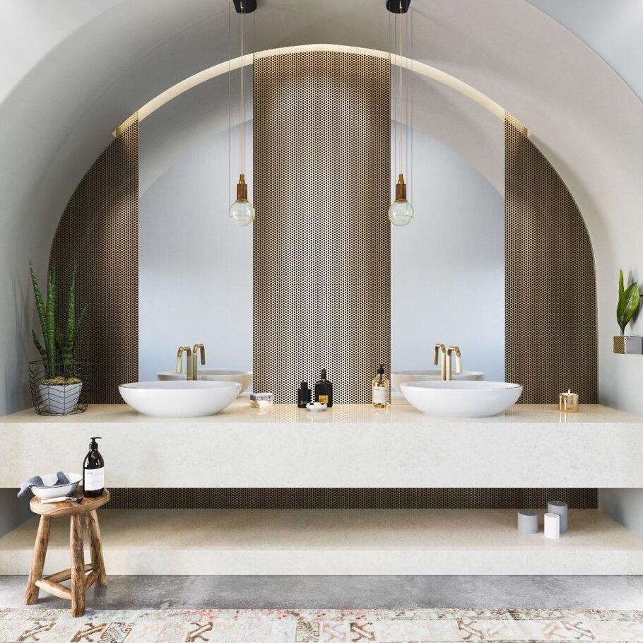 Malvern Cambria Quartz Bathroom with Two Sink Bowls