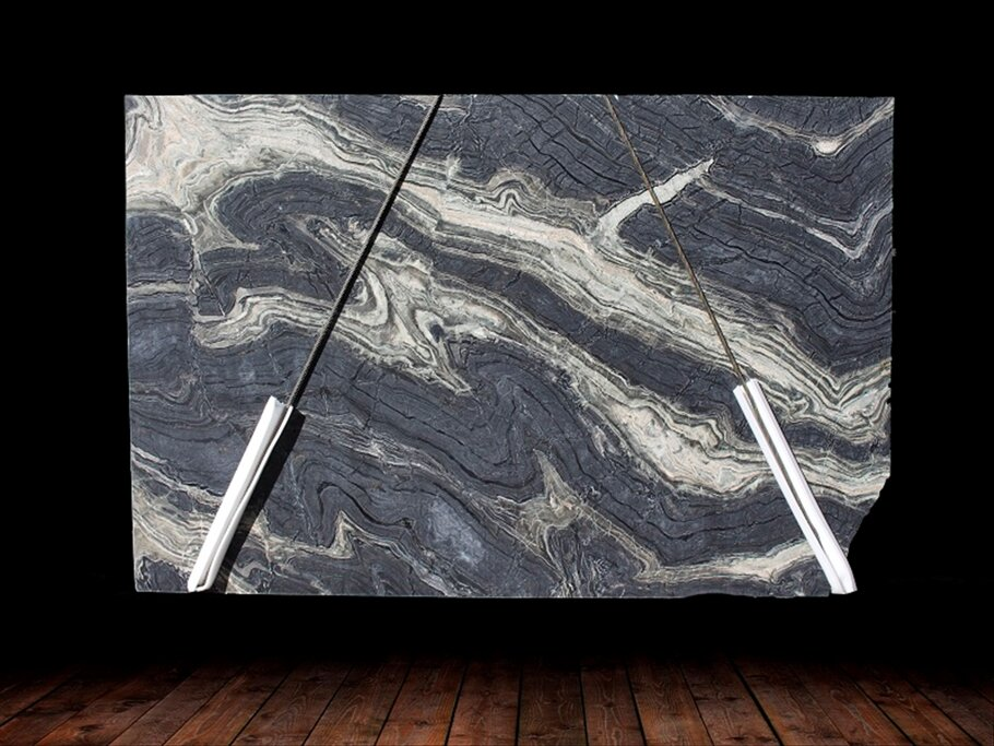SILVER BROWN WAVE LEATHER FINISH MARBLE