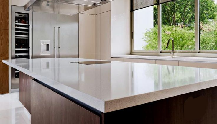 Ice Snow Caesarstone Quartz Kitchen